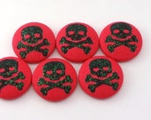 Sparkle Skull Pushpins / Magnet / Thumb Tacks / Fabric Buttons /  Lolita Kawaii Pink Skulls / Goth Gothic / Harajuku / Craft Button
