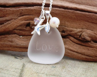 Sea Glass Jewelry Sea Glass Necklace Seaglass Necklace Seaglass Jewelry Wedding Jewelry Bridal Jewelry Bridesmaid Jewelry Engraved 012
