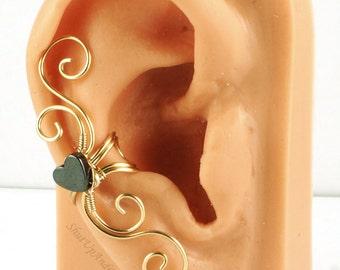 Gold and Hematite Heart Swirly Ear Cuff