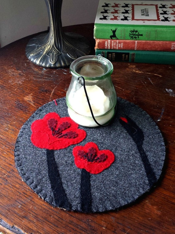 Red Poppies Wool Felt Candlemat