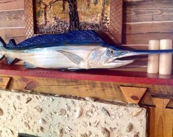 Long billed Spearfish 4ft. chainsaw wooden fish carving ocean sport fishing sculpture nautical decor original angler beach home wall art