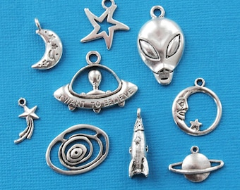 Aliens Charm Collection Antique Silver Tone 9 Different Charms - COL306