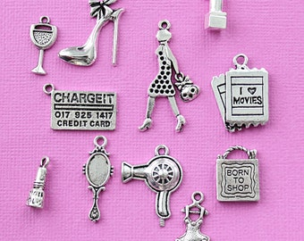 Girl's Day Out Charm Collection Antique Silver Tone 11 Different Charms - COL311