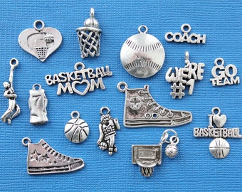 Basketball Charm Collection Antique  Silver Tone 15 Charms - COL070