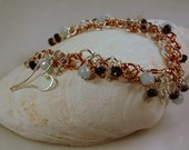 Copper and Silver Double Row Gemstone Charm Bracelet