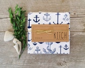 Tea Towel - Nautical Anchor Navy Blue Kitchen Flour Sack Eco Friendly Dish Cloth Sailing Summer Decor Kitchen towel kitchen decor costal