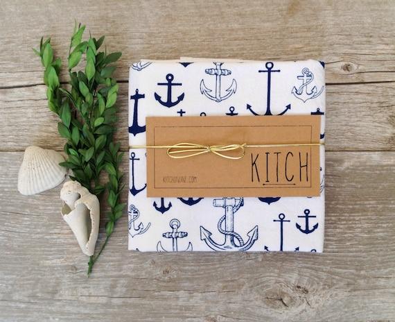 Tea towel nautical anchor navy blue kitchen flour sack eco