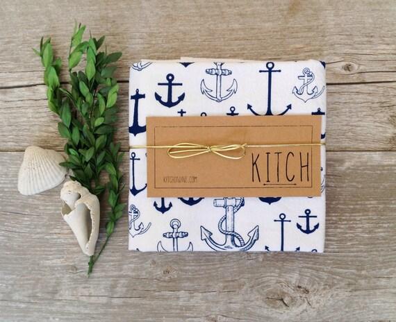Tea Towel - Nautical Anchor Navy Blue Kitchen Flour Sack Eco Friendly Dish Cloth Sailing Summer Decor Kitchen towel kitchen decor costal