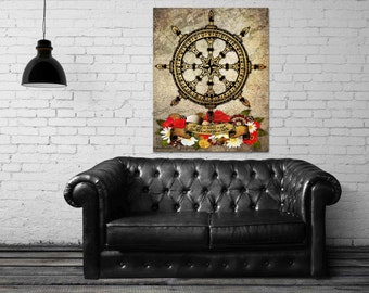 ON SALE 20% OFF A Ship In Harbor - stretched canvas print, canvas art, typographic print, nautical decor, ships wheel, nautical wall art