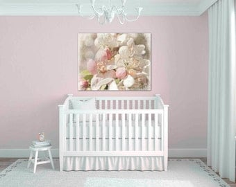 pastel pink cherry blossom print - baby girl nursery decor - pale pink wall art - flower photography