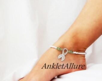White Ribbon Anklet Lung Cancer Awareness Crystal Green Silver Ankle Bracelet