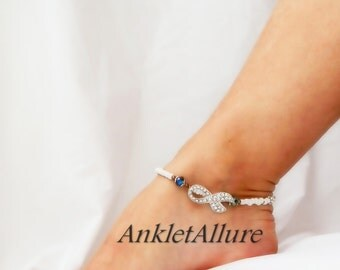 White Ribbon Anklet Lung Cancer Awareness Crystal Anklet Aqua Blue Copper Silver Ankle Bracelet