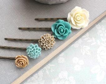 Flower Bobby Pin Teal Floral Hair Accessories Cream Rose Bobbies Tan Rose Neutral Tones Natural Earthy Colors Set of Five ( 5 ) Aqua Bobbies