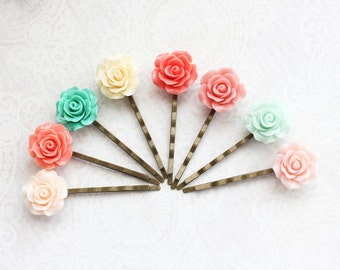 Bridesmaids Hair Accessories Rose Bobby Pin Teal Mint Coral Yellow Pink Peach Floral Hair Pins Rose Bobbies Set of Eight 8 Colorful Wedding