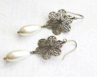 Ivory Cream Pearl Dangle Earring Pretty Flower Filigree in Antique Brass Bridesmaid Jewelry Gift for Girlfriend Mothers Day Romantic Wedding