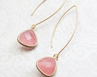 Pink Glass Drop Earrings Long Gold Dangle Earrings Modern Minimalist Bridesmaid Gift Rose Pink Wedding Simple Design Nickel Free Lightweight
