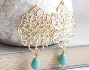 Gold Filigree Earrings Big Dangle Large Chandelier Turquoise Pearl Drop Teal Bridal Jewelry Bridesmaids Gift for Women Gold Lace Earrings