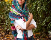 Fuzz Boho Shawl Scarf Colorful Bright Eyelash Yarn Multicolored Soft