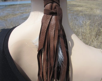 Leather Ponytail Holder Fringe Hair Wraps Extensions, BOHO Hair Jewelry Black / Brown Ties