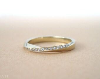 Mobius diamond ring, Diamond mobius ring, Gold mobius infinity ring, mobius wedding band, Diamond mobius wedding band, mobius engagement