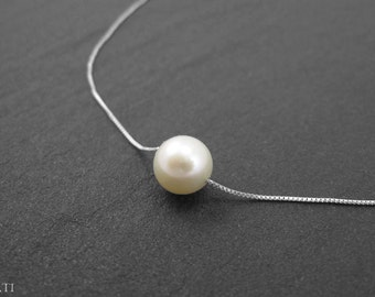 Pearl gold necklace, single pearl gold necklace, floating pearl on gold necklace, freshwater pearl on solid gold chain, gold pearl necklace
