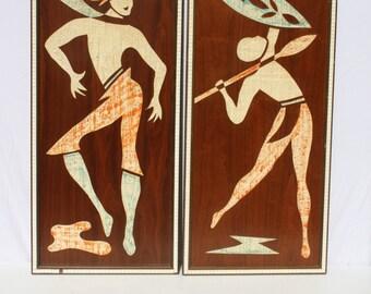 Vintage Mid Century Modern Danish Modern Art Tiki Tribal Native Dancers Wood Tile Penthouse Art Creations No. 634 Pair