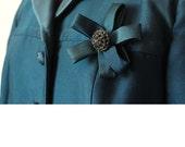 Vintage 1960s Blue Satiny Jacket John Baldwin Rhinestone Rose Size Large Classic Dressy Jacket