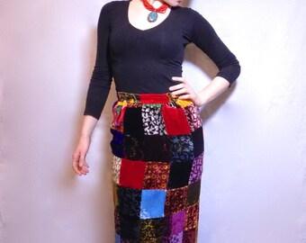 Vintage 70's Velvet Patchwork Skirt