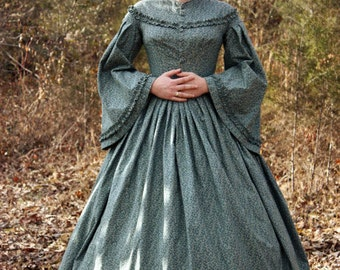 Civil War Day Dress, Reenactment Clothing, Victorian, Dickens Costume