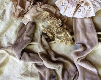Vintage Lace Adult Boot Socks Magnolia Lagenlook Mori Pearl Girl Western Rustic Shabby Farmgirl Chic