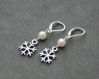 Winter Wedding Earrings, Holiday Jewelry, Custom Pearl Dangles, Sterling Silver Snowflake Earrings, Christmas Jewelry
