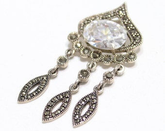 Marcasite and Cubic Zirconia Sterling Silver Pendant with Dangle Marcasite 15cttw