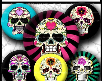 INSTANT DOWNLOAD Colorful sugar Skull (733) 4x6 and 8.5x11 12mm circles Printable Digital Collage Sheet glass tiles cabochon earrings images
