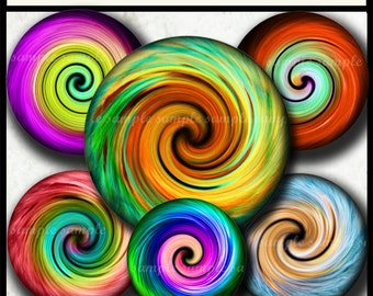 INSTANT DOWNLOAD Rainbow Spiral (744) 4x6 and 8.5x11 12mm circles Printable Digital Collage Sheet glass tiles cabochon earrings images