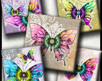 INSTANT DOWNLOAD Mandala Butterflies (759) 4x6 Digital Collage Sheet 1 inch square images glass tiles resin pendants magnets cabochon images