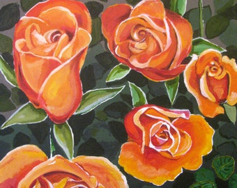 """Uncensored Roses III, Blossoming Flower Bouquet,6, Golden Orange, Original painting, Wall Art,  16x20"""". Free Shipping in USA."""