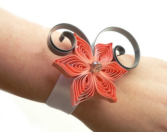 Coral Wrist Corsage, Coral Wedding Accessory for Mothers, Sisters, Aunts, Wrist Corsage for Prom or Dance