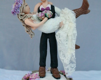 Western Wedding Cake Topper Cowgirl and Cowboy CUSTOMIZED to your features and attire