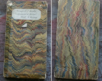 Antique Victorian Surveyors Map Linen Backed with Marbled covers