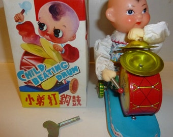 Child Beating Drum Vintage Lithograph Tin Wind Up Toy, 1970s