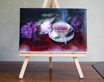Morning Tea, 4 x 6 Giclee with Mini Easel