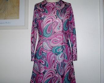 Vintage 1960s maxi paisley dress UK 12 US 8-10