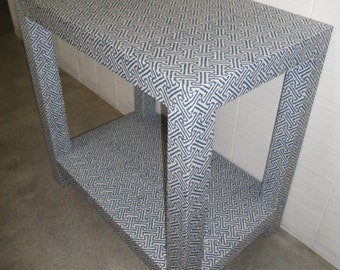 Custom Upholstered Table with Shelf- Design Your Own