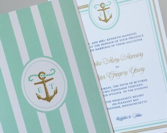 Anchor Stripes with Rope Wedding Invitation
