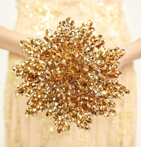 Golden Bridal Bouquet : Gold bridal bouquet golden wedding by