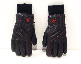 Saranac Ski Gloves Vintage Navy Leather Snow Skiing Gloves Dyed Cowhide Navy with Red Top Stitch Gloves 1970s 1980s Snow Bunny