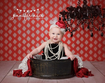 Stunning Red and Ivory Satin Flower Headband - Baby Girl Toddler Headband - Perfect Photo Prop