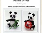 Panda Driver - pdf crochet toy pattern - amigurumi bear pattern - New tutorial