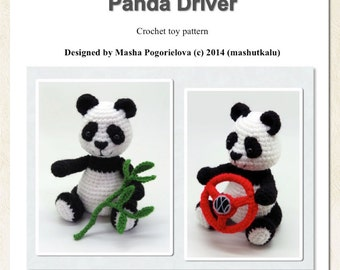 Panda Driver - pdf crochet toy pattern - amigurumi bear pattern - New tutorial