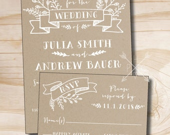 Rustic Kraft Wedding Invitation and Response Card / RSVP Invitation Suite
